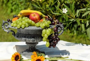 Fruits - bananas and grapes
